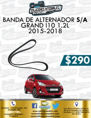 BANDA ALTERNADOR SIN AIRE ACONDICIONADO GRAND I10 1.2L 2015-2018