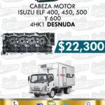CABEZA MOTOR DESNUDA ISUZU ELF 400, 450, 500 Y 600 4HK1