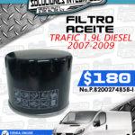FILTRO ACEITE TRAFIC 1.9L 2007-2009