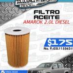 FILTRO ACEITE AMAROK 2.0L DIESEL