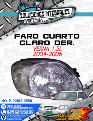 FARO CUARTO CLARO DERECHO VERNA 1.5L 2004-2006